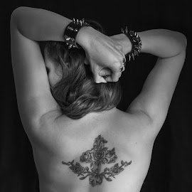 Gothic by René Švigir - People Body Art/Tattoos ( rose, gothic, woman, tattoo, bareback )