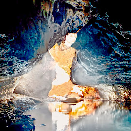 Forgotten reflection by Julia Harwood - Digital Art Abstract ( light being, reflection, woman, australia, goddess, cave )