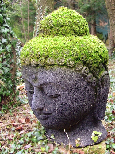 The buddha 39 s face ageing stone for Outdoor buddha