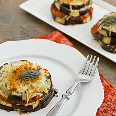 Lightened-Up Eggplant Parmesan Stacks