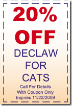 20 percent of declawing coupon