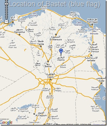 Location of Bastet, Egypt