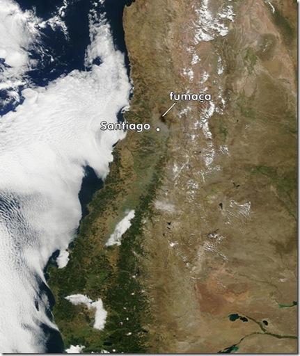 Imagem de satélite de Santiago em 27/02/2010 (Foto: NASA / G1 / Eduardo Oliveira)