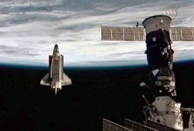 Atlantis após desacoplar-se da ISS (Foto: NASA)