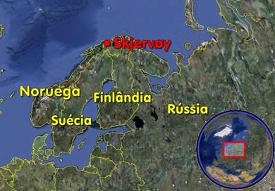 Localização de Skjervøy (Foto: Eduardo Oliveira e GoogleEarth)