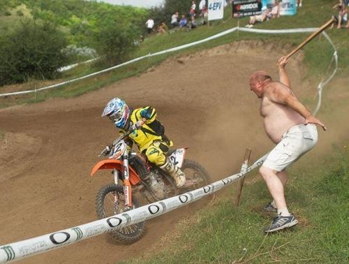 hiting biker WTF