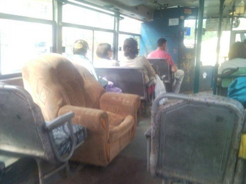 sofa on bus