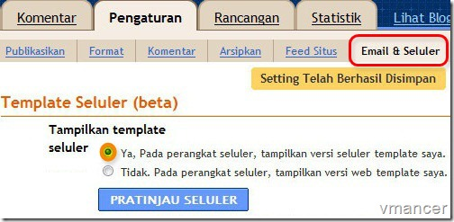 blogger setting - template seluler