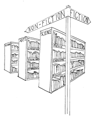 Library with hierarchy of book topics