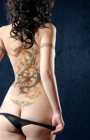 Sexy Girl With Tribal Dragon Tattoos
