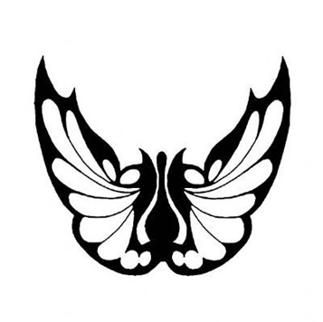 black butterfly tattoo.