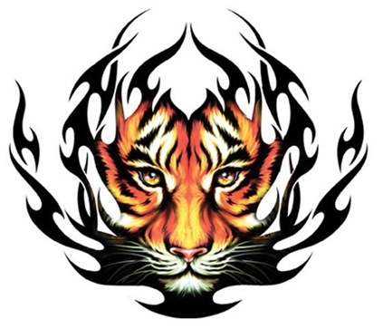 picture innovation tattoos with Temporary Tattoo Tribal Tiger color design