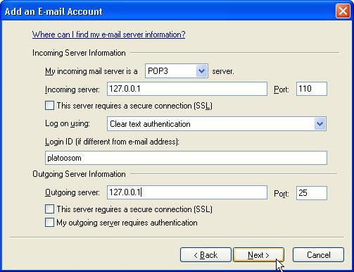 Window Live Mail Add account