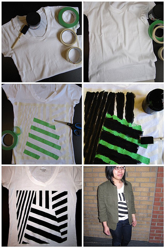 fabric paint geometric t-shirt tutorial