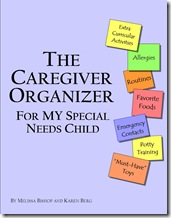 caregiver organizer cover special needs child