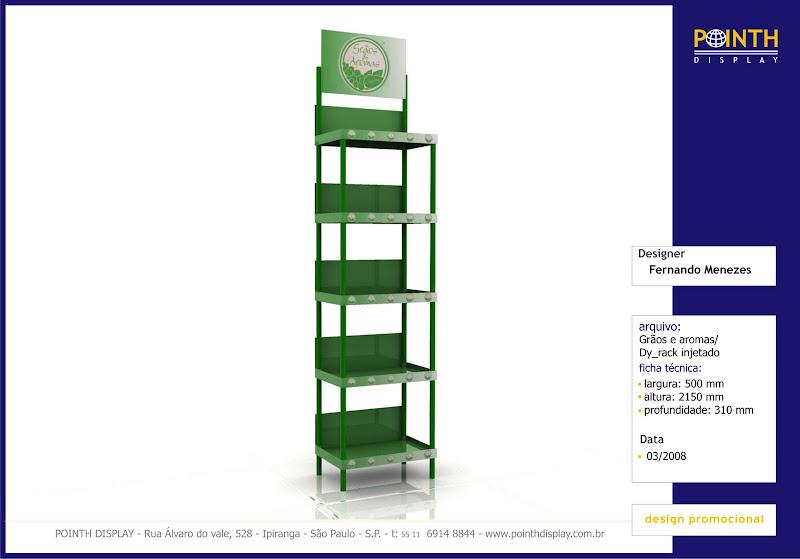 Display Rack Injetado Grãos e Aromas - Materias: PS
