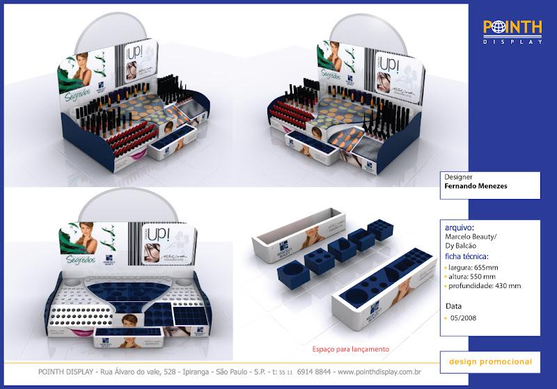 Display de Bacão Marcelo Beauty - Feito em vacuum forming - Materiais : plástico e espelho