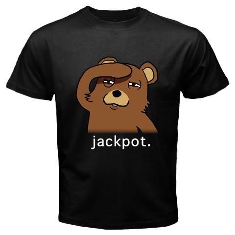Pedobear Jackpot Black T-Shirt
