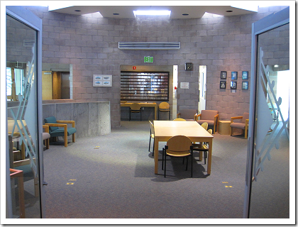 Mesa Public Library architecture: kiva-inspired reading room