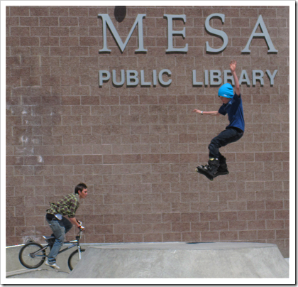 Skateboard park at the Mesa Public Library