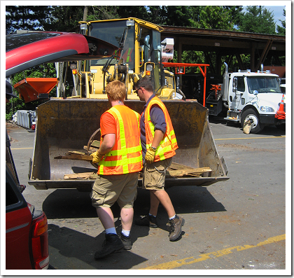 Redmond Recyling Event: unloading scrap wood