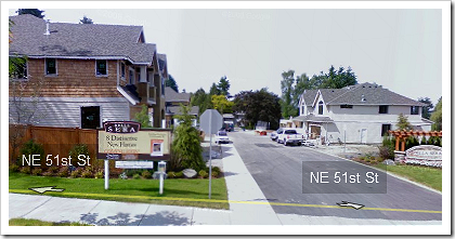 Google Street View: Houses on NE 51st St. in Redmond