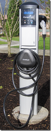 Electric vehicle charging station at Redmond City Hall