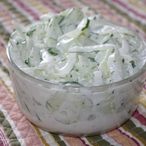 Dilled Sour Cream Cucumber And Onion Salad