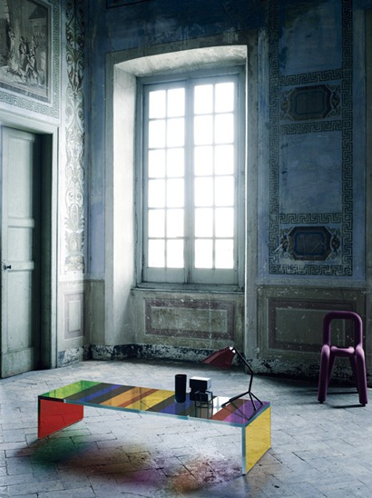 Mesa de vidro colorido