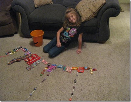 Organizing her candy stash!