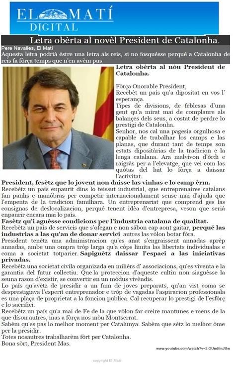 Letra al President Artur Mas ElMatí 291110 (Òc)