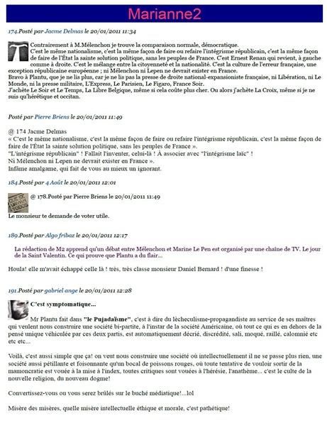 Mélenchon contra Plantu per un dessenh d'actualitat Marianne2 190111 comentaris seleccionats