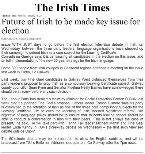 Lo futur de la lenga irlandesa TheIrishTimes 140211