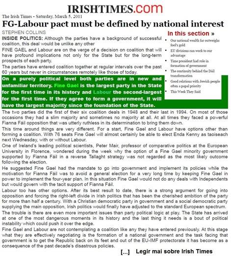 Finna Gael Labour IrishTimes 050311
