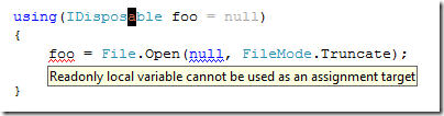 ReSharper showing an error when trying to assign to to a variable declared inside a using statement