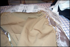 Right front skirt with side gathers