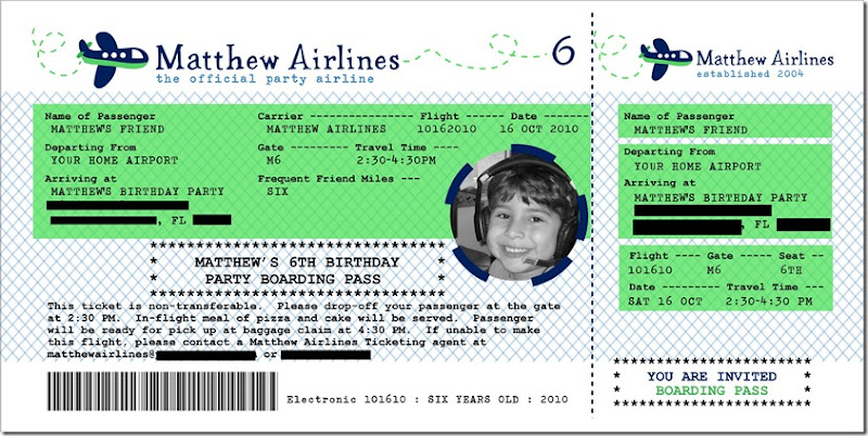 4x8 airline ticket invitation