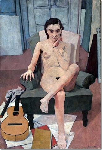 Felice Casorati - Donna seduta con chitarra 1938