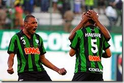 Comemoração do jogadores na vitória  sobre o Guará