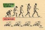 Cilvēks jeb vīrietis evolūcionē, bet sieviete kā mazgājuse grīdas, tā mazgā