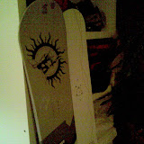 The 2 boards side to side. The white one is my new amazing Burton Super Model X. The weight difference between the 2 boards is Impressive! The X feels like a cloud :)