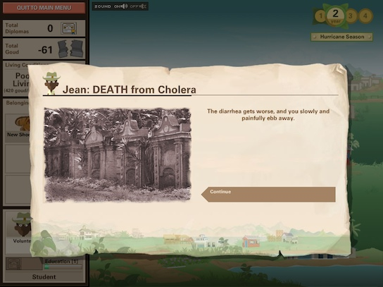 Ayiti screenshot - Jean dies from cholera