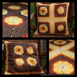African flower square cushion finished