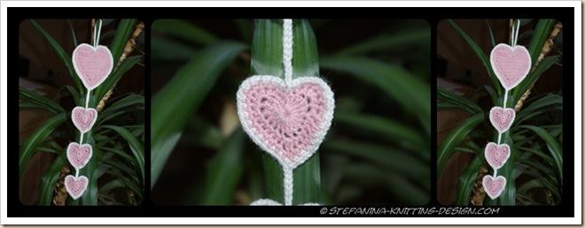 Coeurs roses crochet
