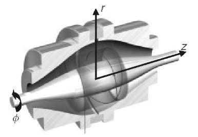 Diagram of the orbitrap mass analyzer showing a spiral trajectory of an ion