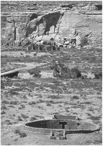 Casa Rinconada and its situation in Chaco Canyon, looking toward Pueblo Bonito on the other side of the valley