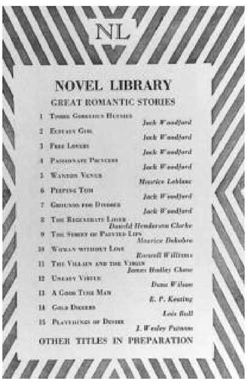 Advertisement for Novel Library editions, including several stories by Jack Woodford