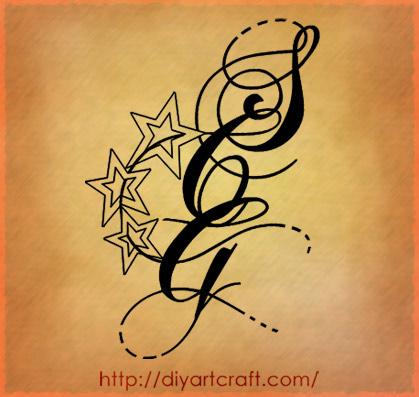 Composizioni per tre maiuscole intrecciate scg tatuaggio