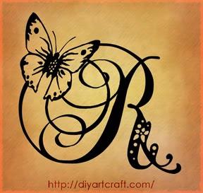 maiuscola R farfalla