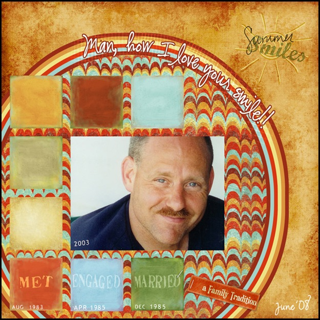 PSE4: -BKGD PAPER: KSC Restore 12x12 Solid Golden -CIRCLE: TCS ArtJournal Paper Biggie -SQUARES: TCS Naturescape Solids Paper (some recolored) -BHA SS Emb Exp Passport Stamps Biggie (all dates) -SG Relax WordArt SNU Smiles (recolored) -SG Relax WordArt MJO Hangtag-Tradition FONT: CK Ali's Hand Official